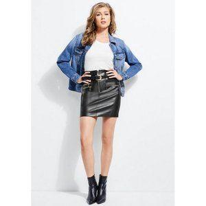 Guess NWT Black High-Waist Jenny Moto Skirt 2